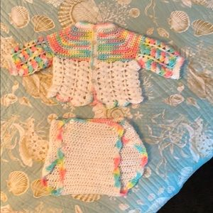 Hand Knitted Baby Cardigan & Diaper Cover